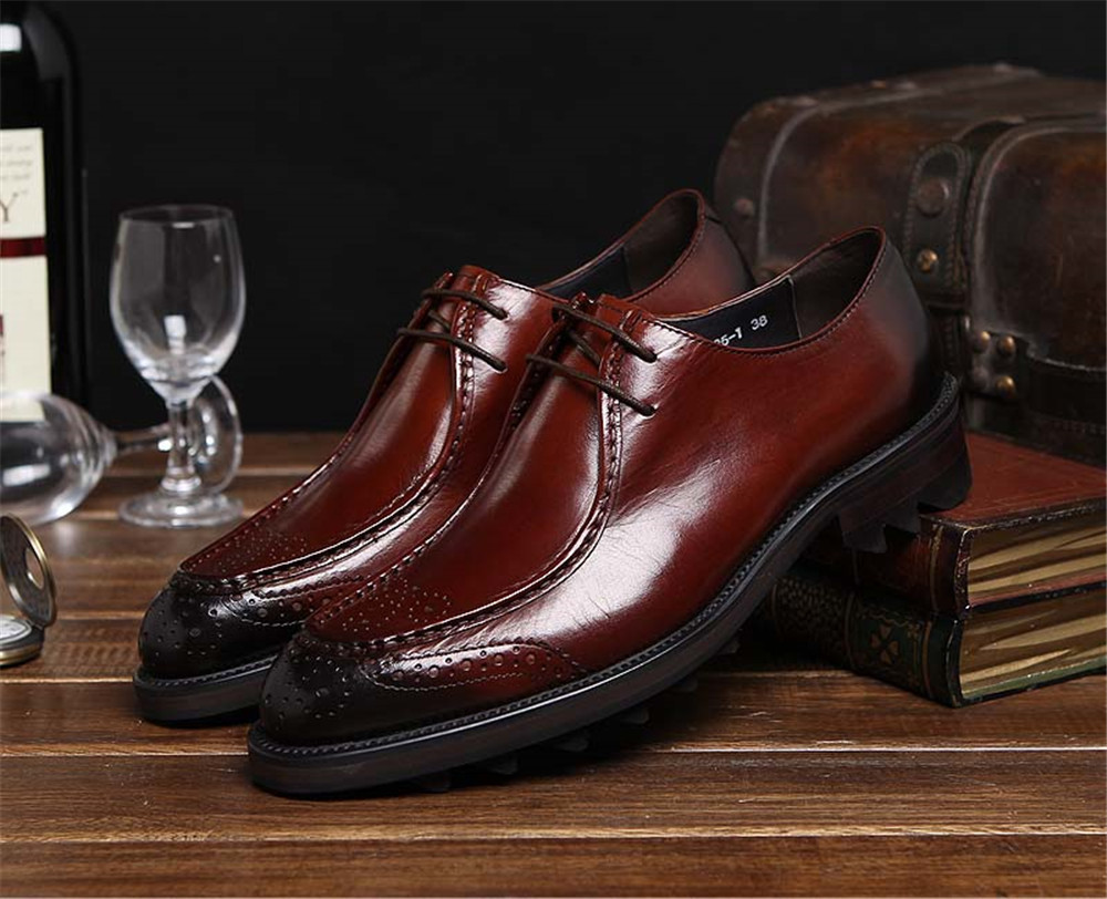 2015 Italian high top luxury hight increasing mens dress shoes genuine leather orange brown basic flats for men business #621<br>