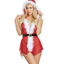 Buy Christmas Sexy Underwear See Mesh Deep V Neck Santa Claus Erotic Sexy Lingerie Women Costumes Babydoll Hooded Dress