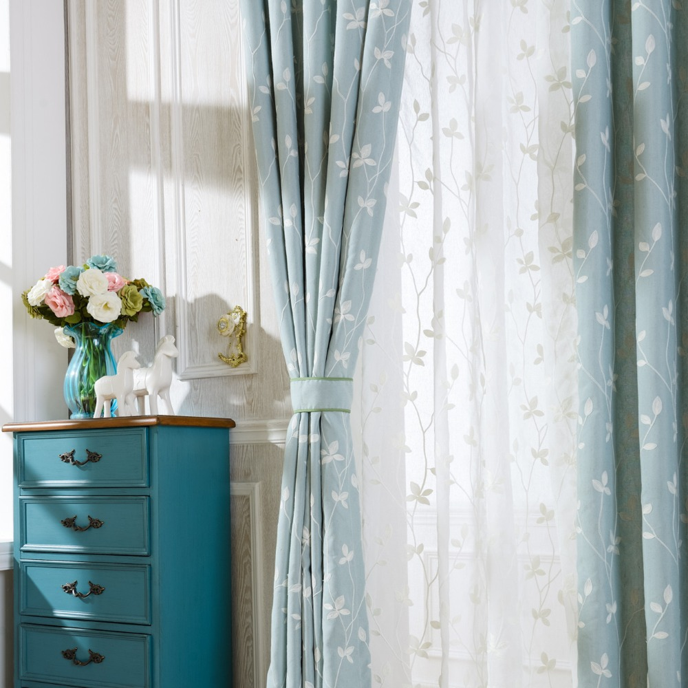 Light blue and white curtains -  Slow Soul Cotton Embroidered Curtains Light Blue White Leaves Window Curtains Sheer Curtains Drapes Rideaux Living Room Cortina