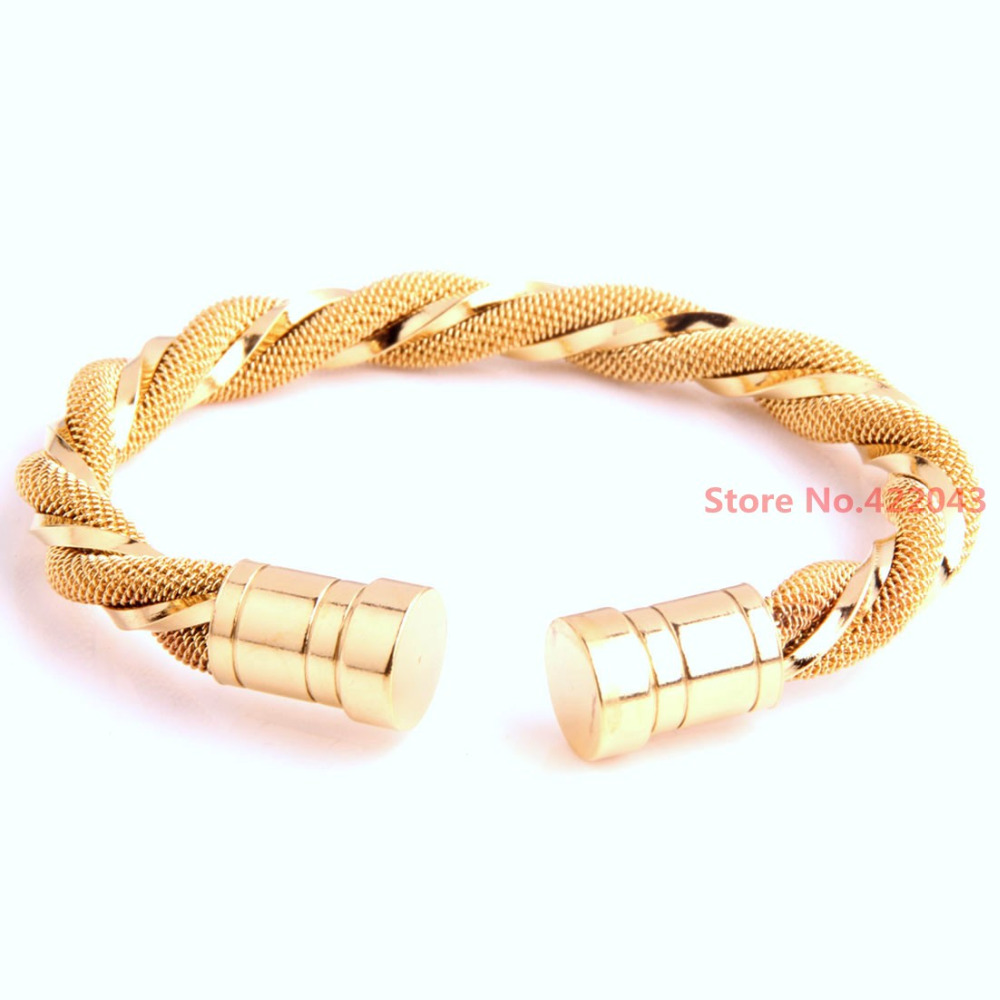New Arrival Fashion Round 18K Gold Bracelet 316L Stainless steel Womens Men's Heavy Cuff Twisted Wire Bangle Jewelry Gift(China (Mainland))