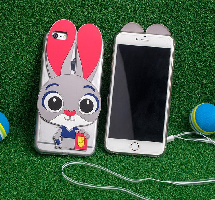 silicon silicone cover case for apple iphone6 iphone 6 s 6s case rabbit silicone 3d cases phone silicon cover Cartoon stitch