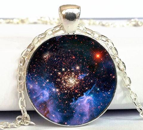 Free shipping GALAXY Pendant Starburst galaxy Necklace Space universe Art Picture Pendant Handmade Jewelry(China (Mainland))