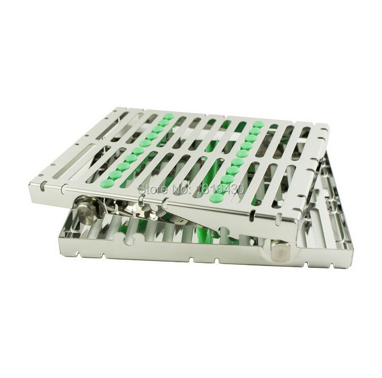 Фотография 2PCS High Quality Dental Stainless Steel Disinfection Box Sterilization Autoclavable Cassette Case Tray Box for 10PCS Instrument