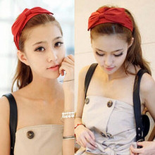 New Korea Style Women Hair Accessories Bow Headbands Wide Ribbon Elastic Hair bands
