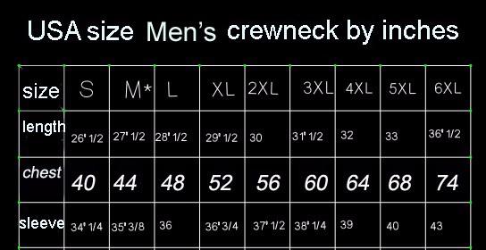 crewneck sizechart