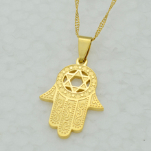 Hexagram & Hamsa Hand Pendant Necklace Women,Magen David Pendant Chain Gold Plated Jewelry Islam Arabic,Jewish Star,Palm Shaped
