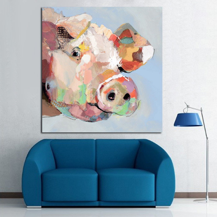 Funny Pig Hand Painted Modern Abstract Animal Oil Painting