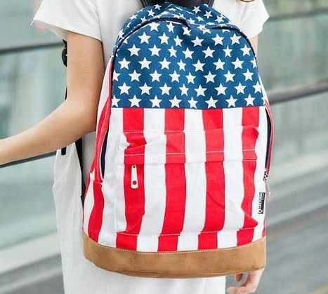 Cheap Products Unisex Canvas teenager School bag Book Campus Backpack bags UK US Flag wholesale retail drop shipping 5056(China (Mainland))