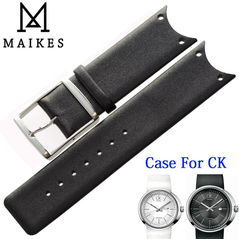 MAIKES High Quality Genuine Leather Watch Band Black White Watchband Case For CK Calvin Klein KOH23101 KOH23220 KOH23307(China (Mainland))