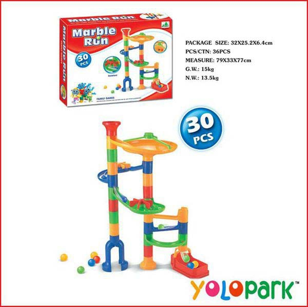 30 pcs race beads ball running DIY building blocks Marble Run coaster toy game for kids classic learning & educational toys(China (Mainland))