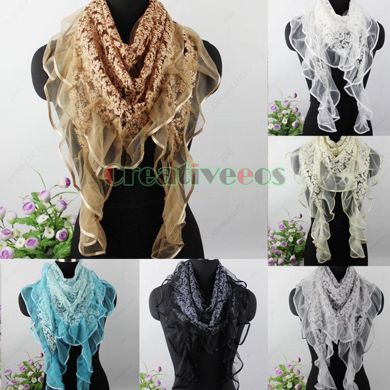 New Fashion Gorgeous Burnt out Shiny Metallic Vine Pattern Ruffle Lace Stitching Triangle Scarf Shawl Wrap