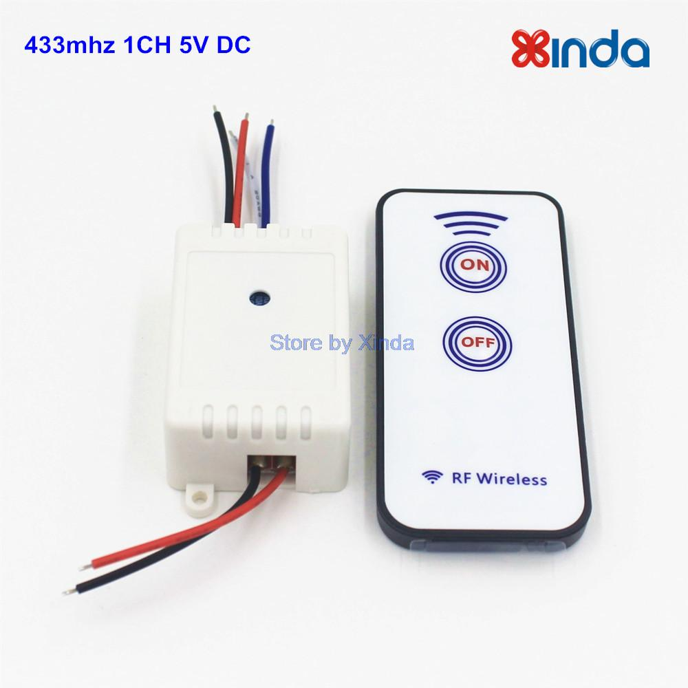 433mhz 1CH RF Wireless Universal Remote Control Switch DC 5V Receiver Relay With 2key Transmitter For Light Garage Door(China (Mainland))