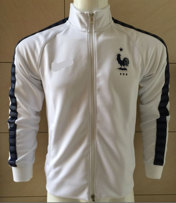 15/16 France White Soccer Jacket  2016 France Football Tracksuits Long Sleeve Sportswear Embroidery brand logo Free Shipping(China (Mainland))