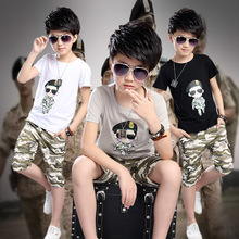 Buy summer 2016 new boys charactert-shirt short two piece suit baby boys clothes kids clothes children short sleeved camouflage set for $15.88 in AliExpress store