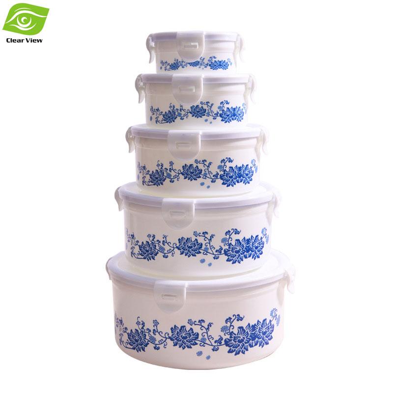 1PC Printing Plastic Food Container Refrigerator Crisper Box 5 Sizes Vegetable/Food Preservation Storage Box(China (Mainland))