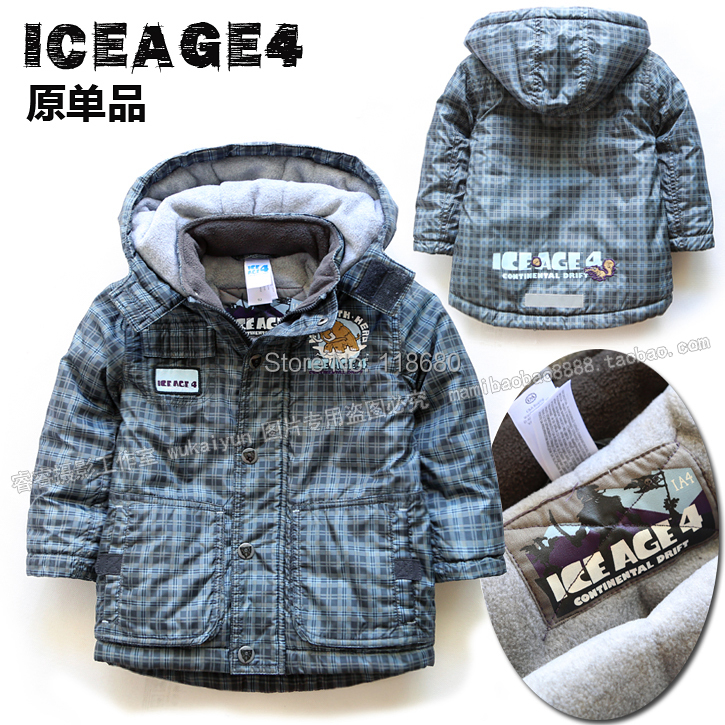 Male child cotton-padded jackets new 2014 autumn winter jacket baby clothing kids outerwear boys warm hooded plaid cotton parka - Lily' house store