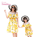 Summer Mother Daughter Matching Dresses Outfits Lemon Floral Strapless Sweet Seaside Beach Dress mutter tochter kleidung