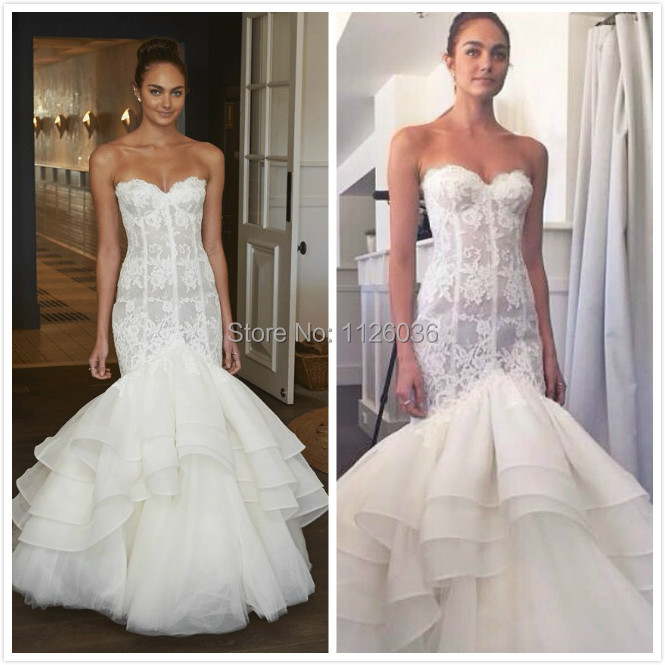 Lace mermaid wedding dress sexy off the shoulder for Mermaid wedding dresses with feather bottom