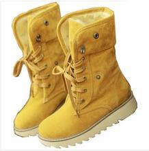 Enmayer mujeres botas de invierno botas cortas nieve gruesa de algodón acolchado Color sólido talón plano ocasional atan para arriba los zapatos grande más el tamaño 34-43(China (Mainland))