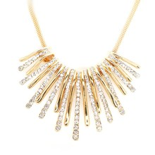 2016 New Women's Fashion Charm Rhinestone Necklace Famous European Style Simple Line Tassel Necklaces Gold Color !(China (Mainland))