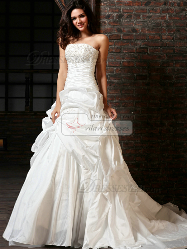 A Line Taffeta Tube Top Chapel Train Sequin Wedding