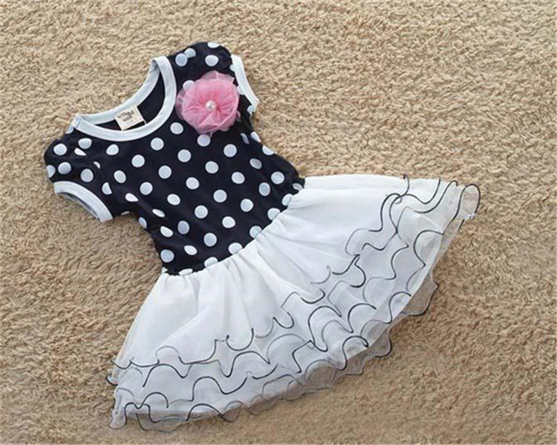 Wholesale - - 2015 New Spring Autumn Baby Girls Dress Clothes Children cute Dot short sleeve 2 colors Dot dresses(China (Mainland))