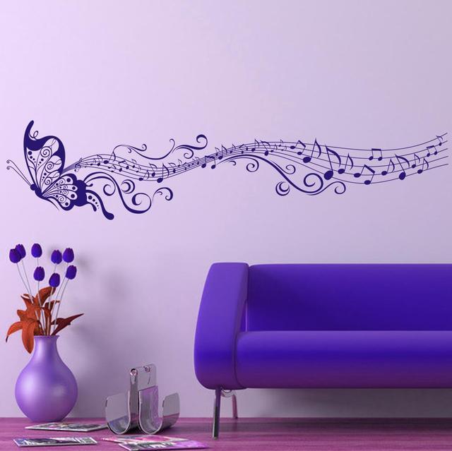 Классическая музыка бабочка декор номеров искусство переводные картинки виниловая искусство съемный стикер стены 033 DIY сайт настенные фрески
