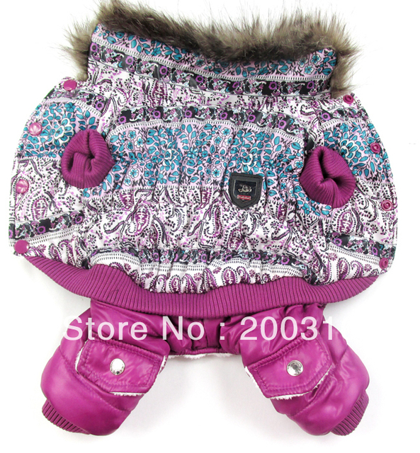 New Purple fantasy bubble padded luxury fur pet dogs winter coat Free shipping dogs clothes