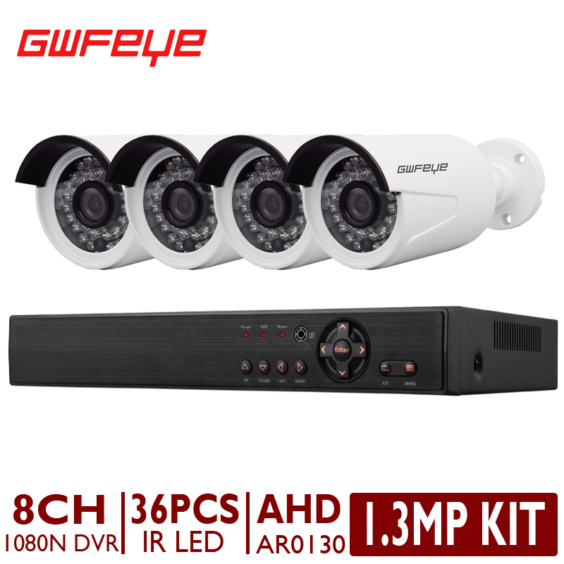 GWFEYE 8CH Channel 1080N Full HD AHD DVR With 4PCS 1.3MP AR0130 Outdoor Bullet Surveillance CCTV Cameras Security System Kit(China (Mainland))