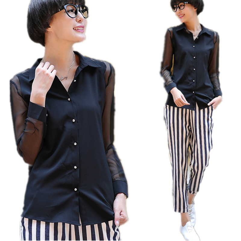 2014 New Black/White Color Blouse Women Fashion Single Breasted Organza Patchwork Blusas CS-999 - Street store