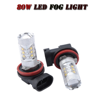 H8 H9 H11 High Power 80w Per Bulb LED Car Auto Driving Fog Tail Headlight Light Lamp conversion kit White 12V - NEWM Autolamp Store store