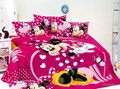 100 Cotton kids Girls 3 4 pcs Minnie Mouse oil printing Pink bedding sets Twin Full
