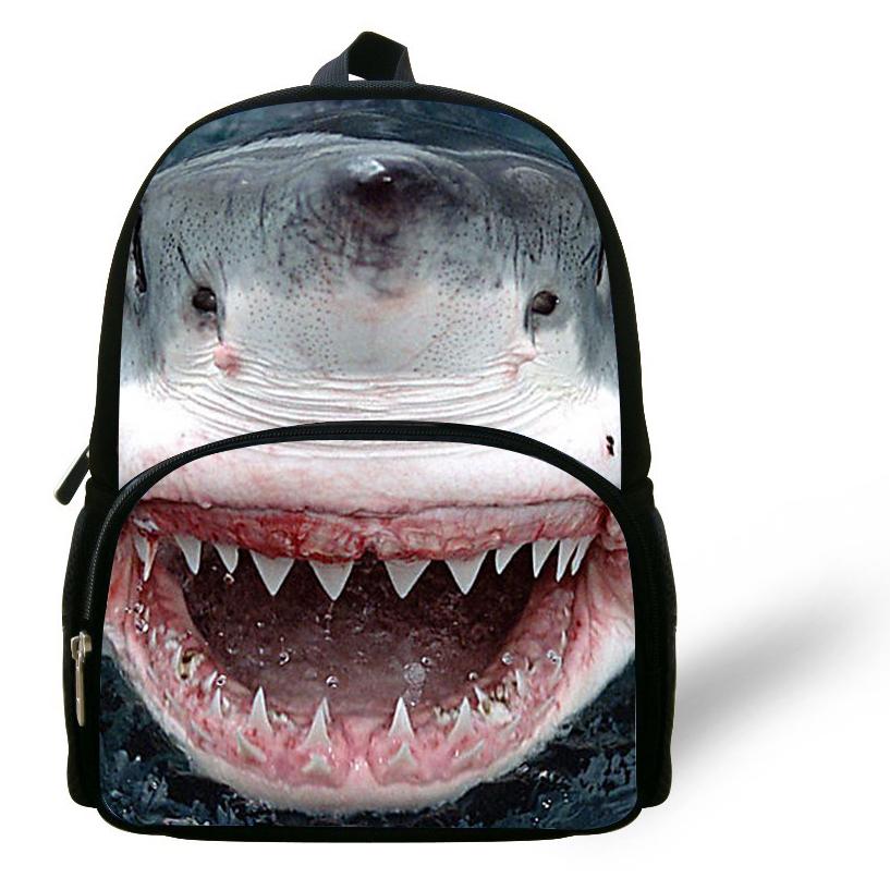 12-inch Mini Great White Shark Backpack Animal Prints 3D Animal Bag Kids School Backpacks For Boys Mochila Escolar Infantil(China (Mainland))