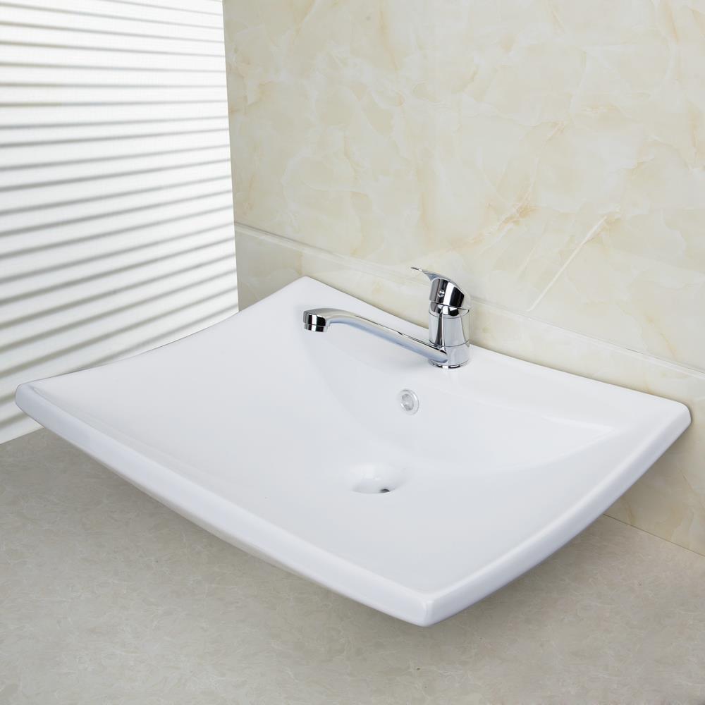 Shivers Bathroom Ceramic Basin Sink Set Countertop Rectangular High ...