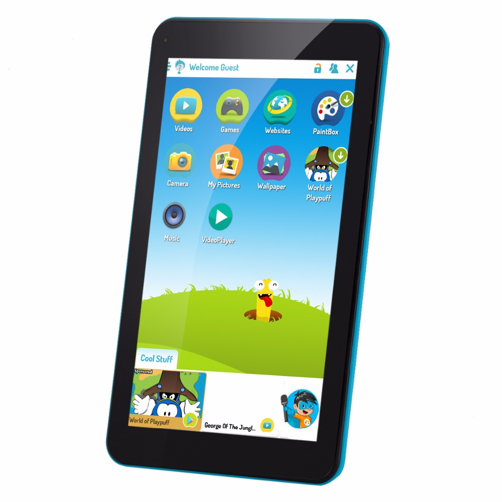Blue color AOSON M753 7 Inch kids Tablet PC Android 6.0 Marshmallow Quad-core IPS HD Touch Screen 1024*600 1GB+16GB dual camera