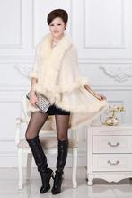 New pattern autumn winter the new women's high quality knitted cardigan size double temperament imitation fox fur shawl cloak(China (Mainland))