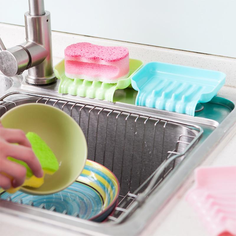 Creative Sucker Bathroom Soap Dish Can Draining Kitchen Sink Sponge Debris  Storage Box Randomly Selected
