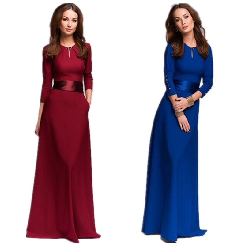 2015 New Fashion Slim Boutique Maxi Dresses Sexy Cute Cheap Party Dress Red Blue Long Sleeve Full Length Dress Plus Size SMBD085(China (Mainland))