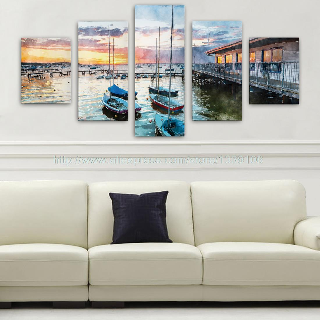 Unframed 5Pcs Sunset Fishing Boat Oil Picture Print Custom Wall Picture Art Canvas Painting For Living Room Home Decoration New