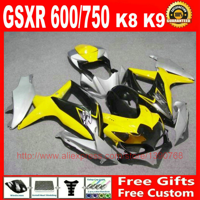 Fairing kit Suzuki GSXR 600 750 2008 2009 2010 yellow silver black bodywork fairings set K8 08 09 10 GSX R BM55 - Welcome Shopping's store