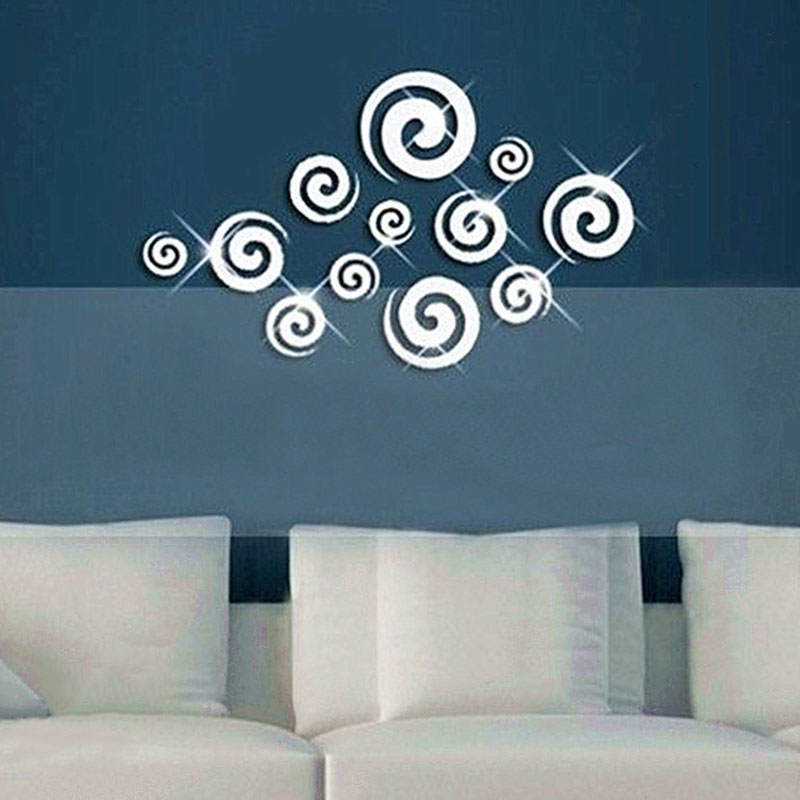DIY clouds swirl acrylic mirror stickers 3D three-dimensional wall stickers decorative mirror backdrop living room bedroom den(China (Mainland))