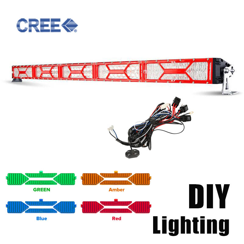 """Oslamp DIY Flood Cover 5D 52"""" 500w LED Light Bar Offroad DRL with A B Swithes Wire 4x4 4WD 12V 24V ATV UTV Truck Trailer Tractor(China (Mainland))"""