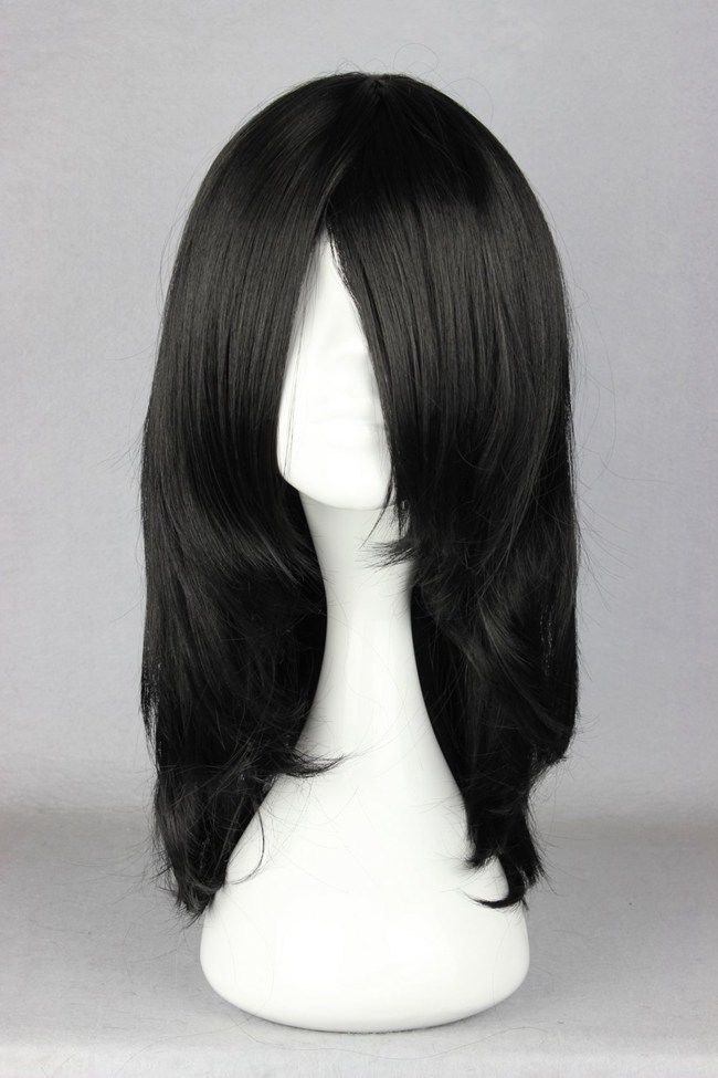 free shipping Express delivery to USA Medium Straight Synthetic Hair Black Cosplay Wig s0481(China (Mainland))