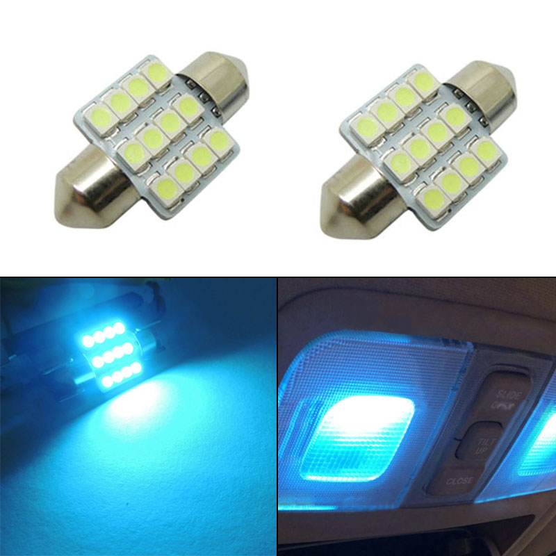 2 Pcs 31mm Length 12-SMD 5050 LED Bulbs Car Interior Aqua Blue Lights(China (Mainland))