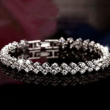 Heart Cubic Zircon Diamond Bracelet Bangle for women White Brass 925 Sterling Silver Fine Jewelry Wedding Fashion Snap Button(China (Mainland))
