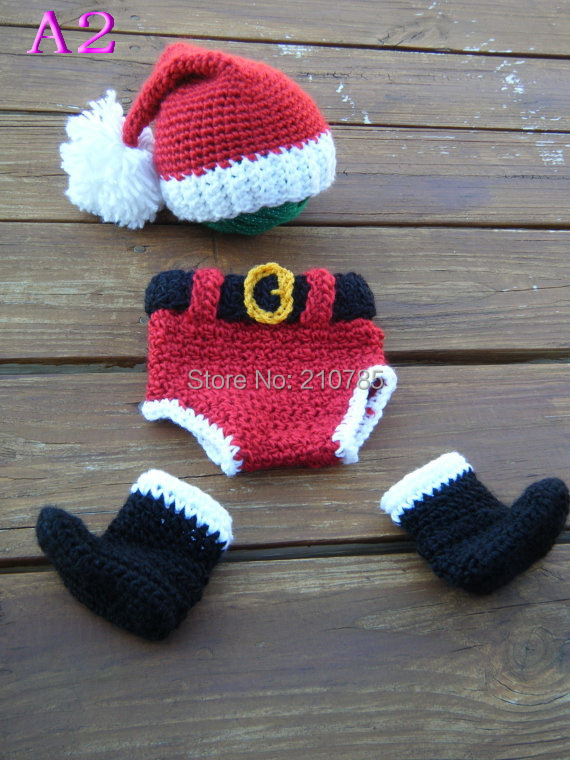 Free shipping Baby crochet long tail pixie Elf Hat,Diaper Cover and boots three-piece sets, Christmas perfect photograph prop(China (Mainland))