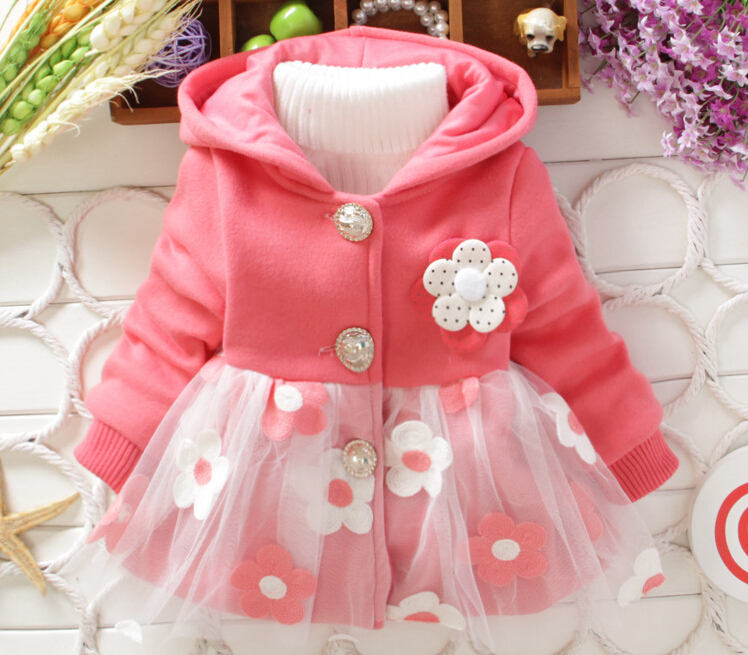 2016 Kids Girls Jacket Trench Coat Children Hoodies Coats Baby Girl Princess Jacket Warm Coat Kids Clothes Outerwear(China (Mainland))