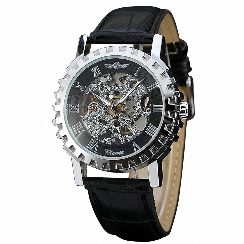 Women Leisure Automatic Mechanical Wrist Watch Leather Band Skeleton Movement Hollowed Dial Roman Number+ BOX<br><br>Aliexpress