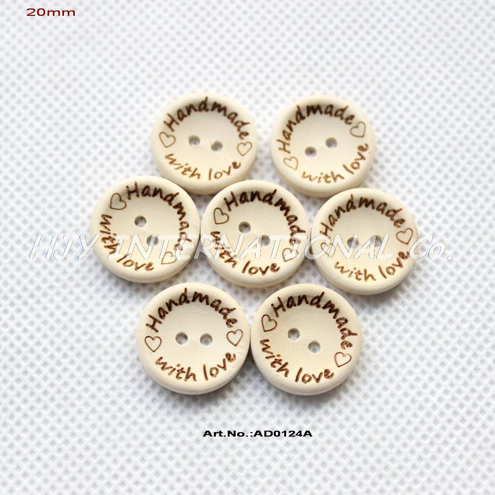 Гаджет  (100pcs/pcs) Handmade with love Buttons Scrapbooking Sewing Button Natural Wood 20mm -AD0124A None Дом и Сад