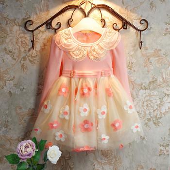 Мода 2015 платье девушки осенью 3 - 9 возраст цветочные новорожденных девочек одеваться vestidos menina бесплатная доставка розничная розовый